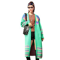 Women Knitted Cardigan Autumn New Medium Long Loose Sweater Jacket 2019 Spring Casual Bohemian diamond Lady Knitwear Coat FC106
