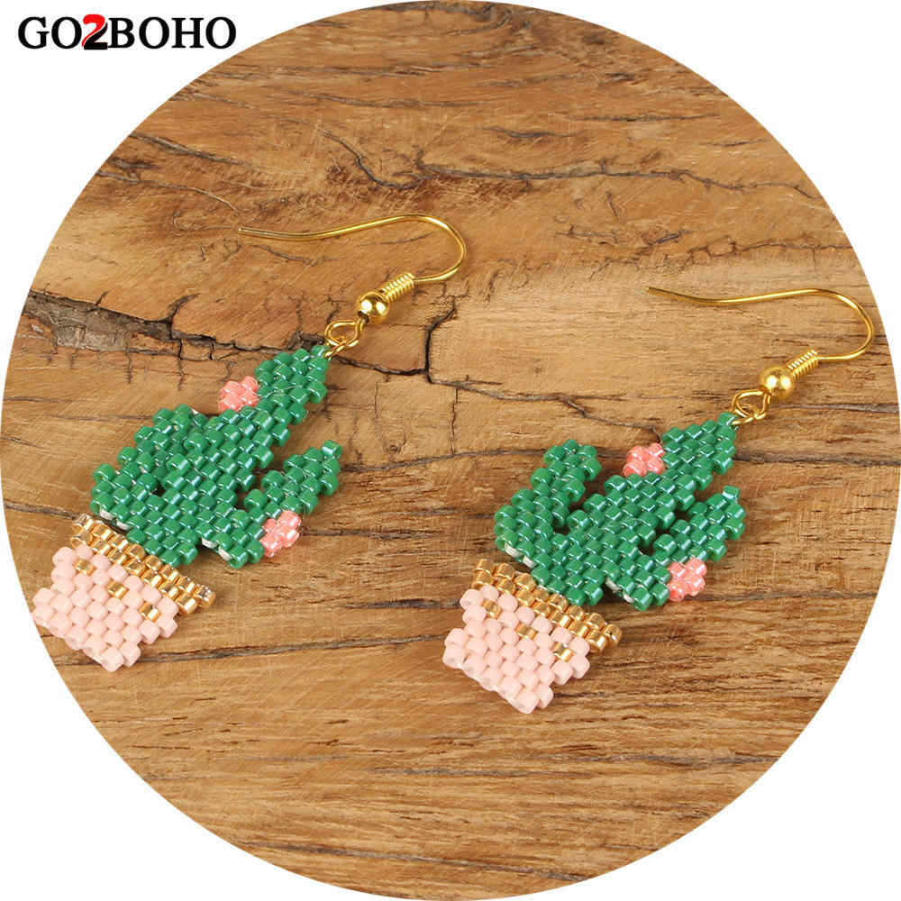 Go2boho Dropshipping Cactus Earrings MIYUKI Seed Beads Gold Jewelry Earring Chic Green Flower Women Delicas Gifts Handmade Woven