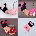 2016 Latest Newborn Girls Minnie Costume Crochet Baby Cartoon Hat Skirts Set Knitted Infant Baby Clothing Set  MZS-16028