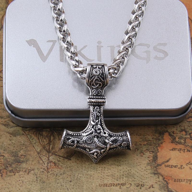dropshipping 1pcs thor's hammer mjolnir pendant necklace viking scandinavian norse viking necklace Men gift