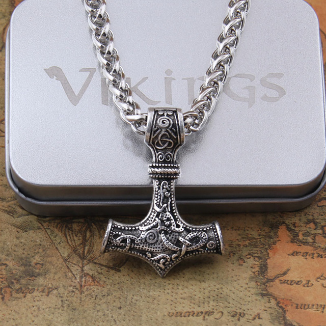 Dropshipping 1pcs thors hammer mjolnir pendant necklace viking dropshipping 1pcs thors hammer mjolnir pendant necklace viking scandinavian norse viking necklace with stainless steel chain aloadofball Image collections