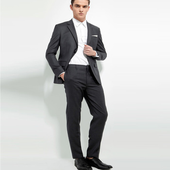 Dark Grey Casual Business Style Suit Slim Fit for Men 2 Pcs (Jacket+Pants) Groom Tuxedos Wedding Suits Prom Party Suits Hot Sale