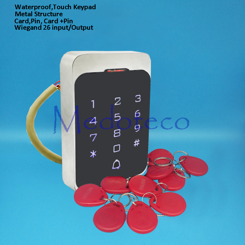Waterproof Touch Keypad Rfid Access Control System Metal Access Controller Door Opener 125khz Smart keyfobs card Door Controller free shipping touch keypad access control rfid card and touch keypad access control