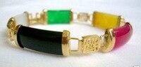 Đẹp Tốt đông phong cách Đa Màu Sắc gem/vòng đeo tay màu đen Thạch Anh đá bangle wide xem wings đối với sterling silver-bạc-trang sức