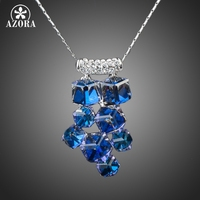 Platinum Plated 8pcs Bule Cube SWA ELEMENTS Austrian Crystal Pendant Necklace FREE SHIPPING Azora TN0078