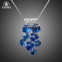 Platinum Plated 8pcs Bule Cube SWA ELEMENTS Austrian Crystal Pendant Necklace FREE SHIPPING Azora TN0078