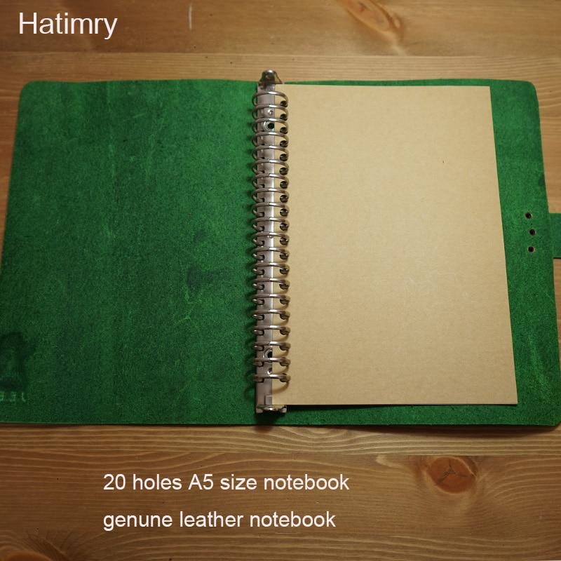 Hatimry new A5 notebook Genuine leather spiral 20 holes handmade vintage notebook travelers jorunal sketh books school supplies