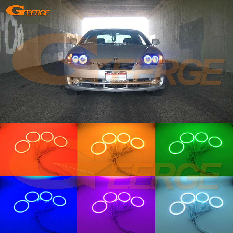 For Hyundai Tiburon 2003 2004 2005 2006 Excellent Angel Eyes Multi-Color Ultra bright RGB LED Angel Eyes kit Halo Rings super bright led angel eyes for bmw x5 2000 to 2006 color shift headlight halo angel demon eyes rings kit