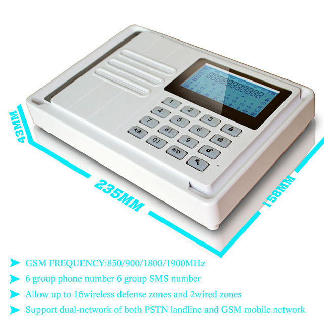 GSM&pstn+Contact ID home wireless alarm/light beam detector,keypad mobile call gsm alarm system with panic button(KR-7016G)