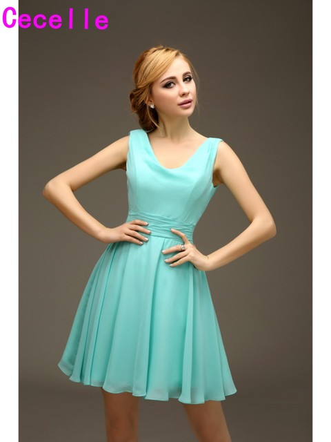 Mint A line Short Chiffon Sleeveless Beach Bridesmaids Dreses With ...