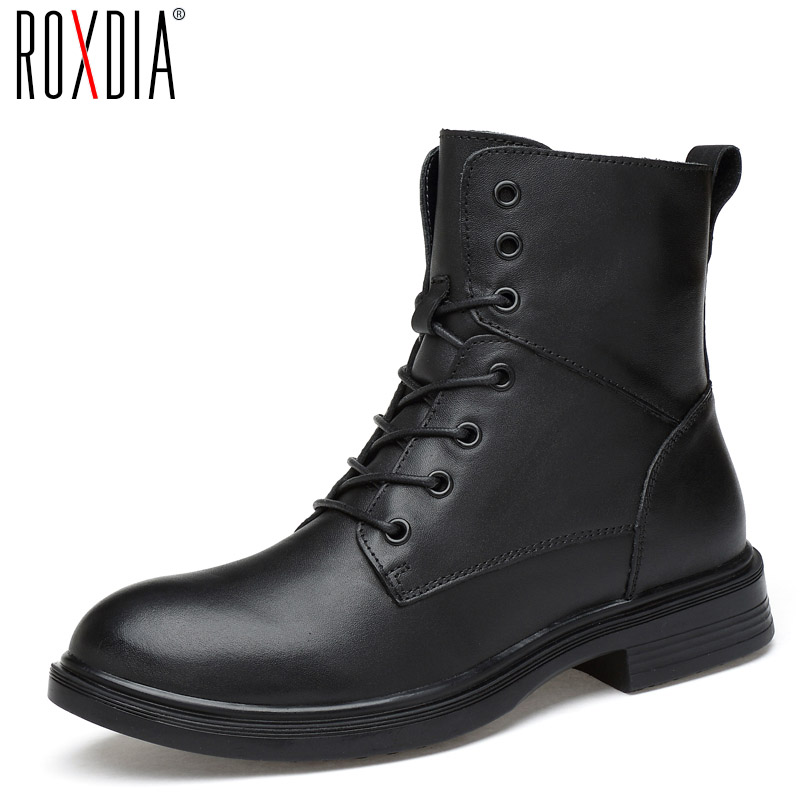 ROXDIA men boots man shoes genuine leather autumn winter snow ankle lace up waterproof warm plush black plus size 39-50 RXM1004 цены онлайн