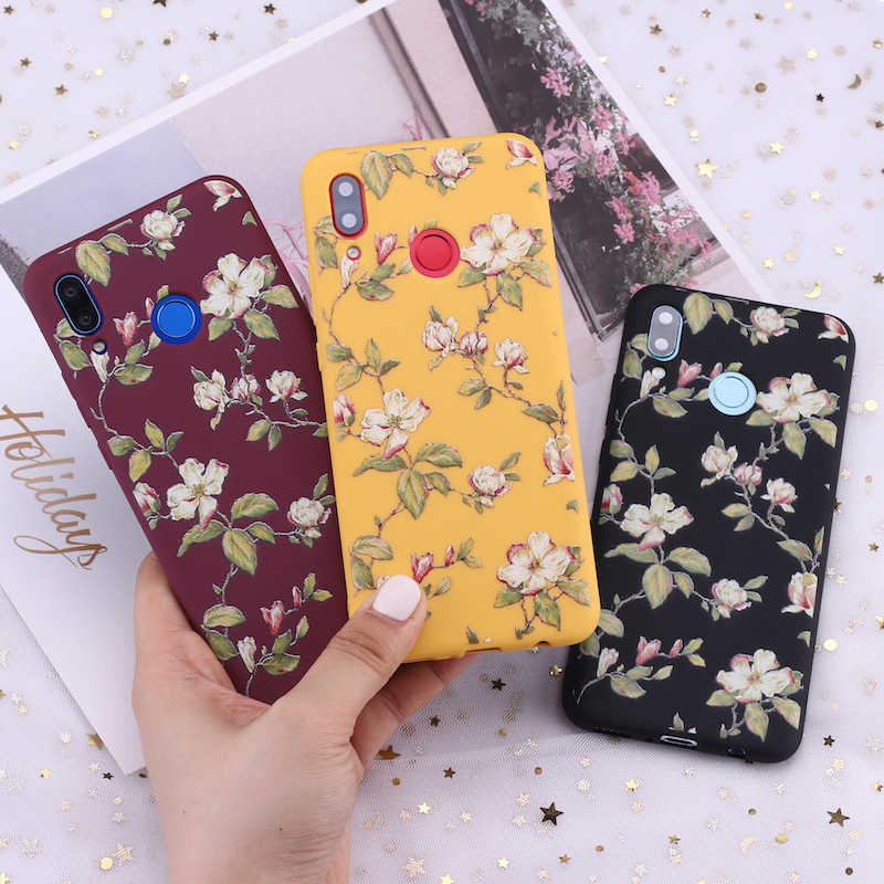 For Huawei Honor Mate 10 20 Nova P20 P30 P Smart Vintage Floral Flower Art Candy Silicone Phone Case Cover Capa Fundas Coque