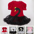 Baby Dance Costumes Cotton Summer Style Newborn Tutu Pettiskirt Swan Decor Brands Baby Clothes O-Neck Infant Baby Dance Costumes