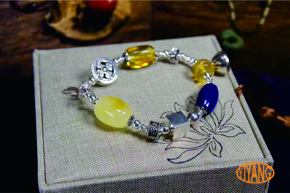 YY Fine Jewelry Handmade 925 sterling silver natural amber lapis lazuli boutique fashion luxury party vintage woman bracelet
