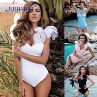 JUYABEI Women Solid Mesh Straps Patchwork One Piece Swimsuit Push Up Sexy Padded Monokini Brazilian Swimsuit
