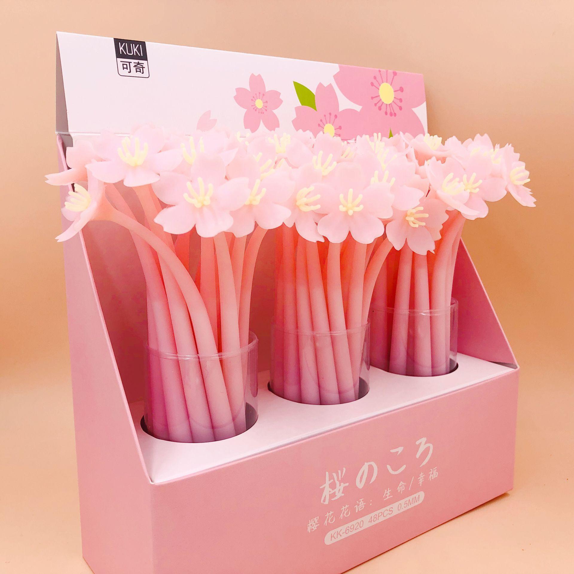 1Pcs Kawaii Sakura Creative Japanese Flower Cherry Soft Silicone Korean Stationery Student Black Ink Signature Gel Pen