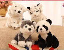 4 pieces a lot cute plush sitting animal toys high quality husky, spot dog, panda, tiger dolls gift about 20cm(China)