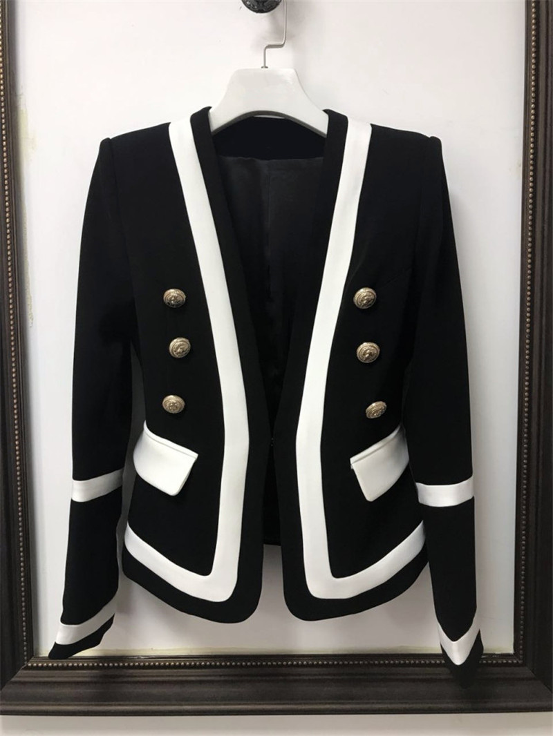 2019 European American Spring New Explosion Black and White Coloured V collar Metal Button Short Suit Women Blazers and Jackets in Blazers from Women 39 s Clothing