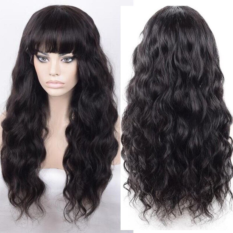 LUFFYHAIR 150 High Density Wavy 13x6 Lace Front Human Hair Wigs With Bang Peruvian Hair Remy