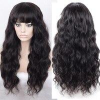 LUFFYHAIR 150% высокая плотность волнистые 13x6 синтетические волосы на кружеве человеческие Искусственные парики с челкой перуанские волосы Remy