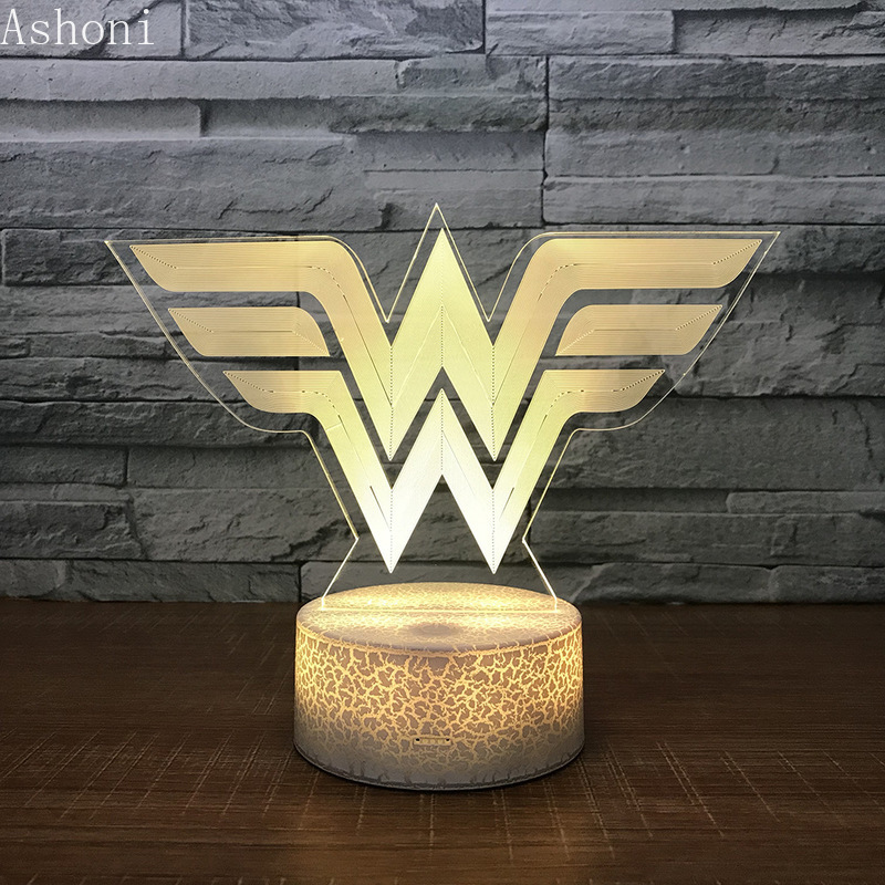 3D Acrylic LED Night Light Wonder Woman Logo Shape Touch 7 Color Changing Desk Table Lamp