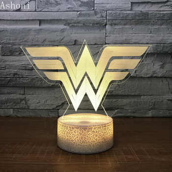3D Acrylic LED Night Light Wonder Woman Logo Shape Touch 7 Color Changing Desk Table Lamp Party Decorative Light Christmas Gift - DISCOUNT ITEM  20% OFF All Category