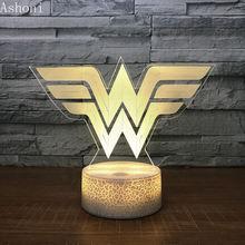 Акриловый светодиодный ночник 3d в виде чудо женщины декоративная