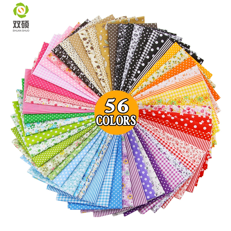 100% Tissus Cotton Fabric Telas Patchwork Fabric Fat Quarter Bundles Tkanina do szycia Patchwork Lalki Tkaniny 50 * 50 CM 56 SZTUK / PARTIA