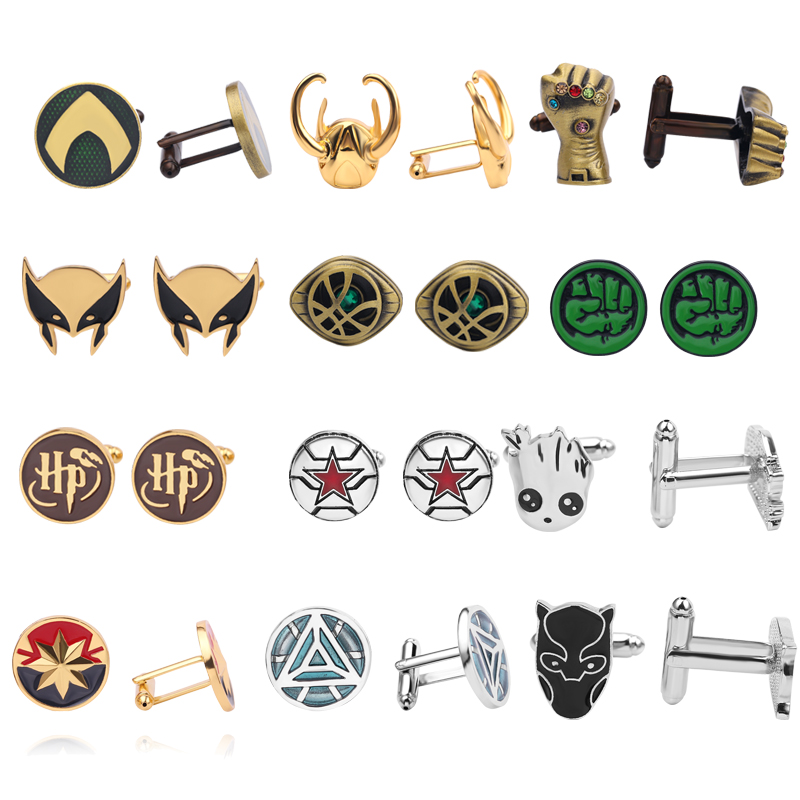 Cufflinks Jewelry Hulk Avengers Black Gift Fashion Iron The Man Aquaman No for Male 13-Style