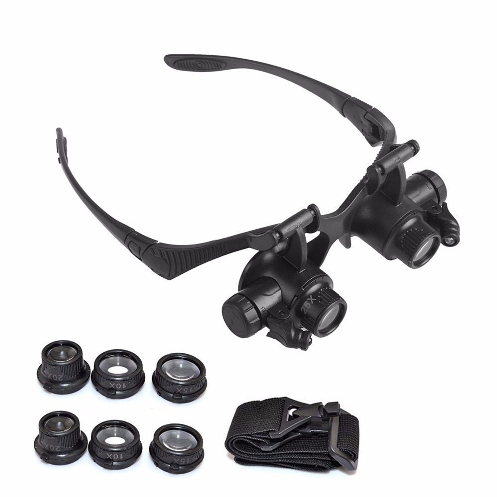 Watch Tools Double Eye Watch Repair Magnifier Loupe Jeweler Magnifying Glasses Tool Set With LED Light 10X 15X 20X 25X 9892d headset watch repair magnifier tool w led white light black