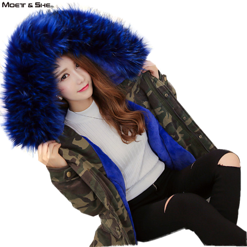 Jacket Women 2016 Winter Fleece Thick Hooded Parka Fur Collar Military  Army Green Outwear Camouflage Coat  Clothing  C6O143R