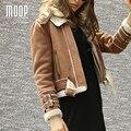 Американский стиль черный верблюд замши кожаные куртки пальто овечьей шерсти выстроились мотоциклетная куртка весте ан cuir femme LT1011