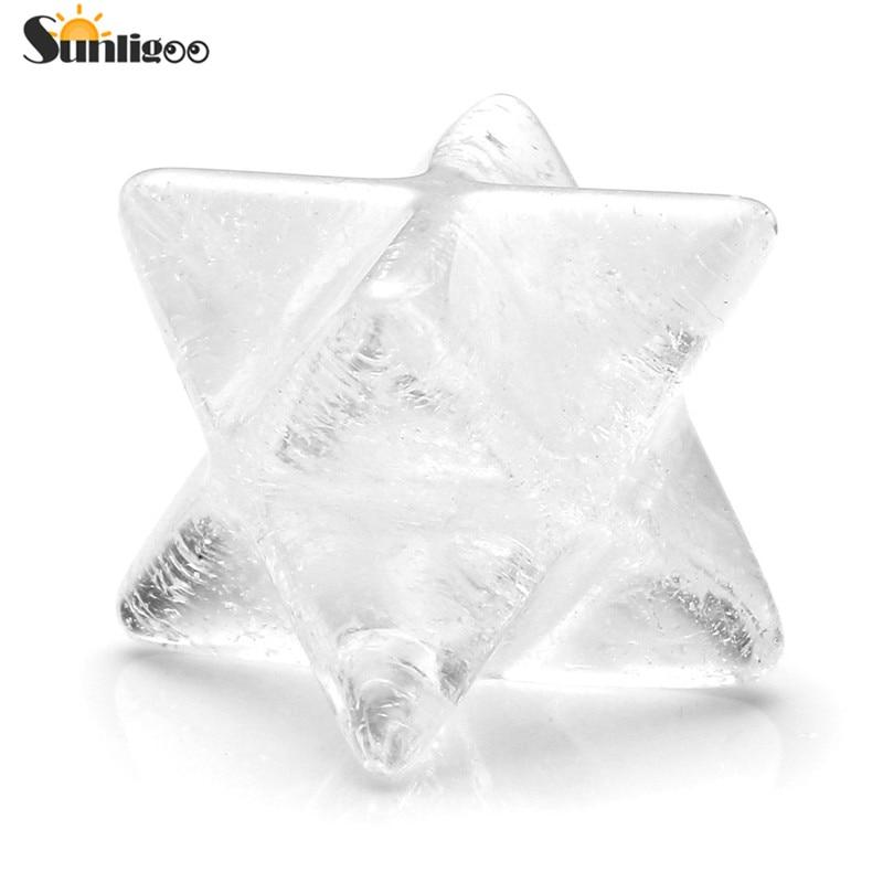 Sunligoo Natural Clear Crystal Quartz Points Merkaba Stars Gemstone Great for Meditation Healing Positive Feng Shui Home Decorat
