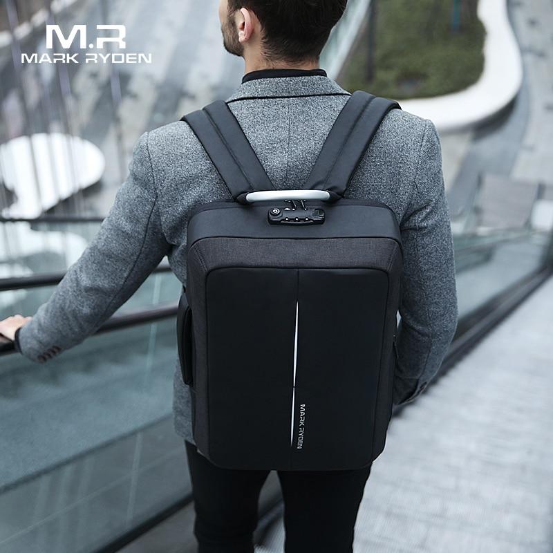 Mark Ryden nuevo Anti-ladrón recarga USB hombres mochila NO llave cerradura TSA diseño de los hombres de negocios de moda de mensaje mochila viajes