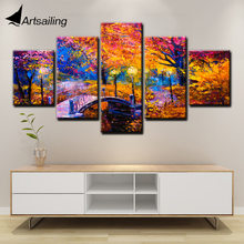 Wall Art 5 Piece Canvas Painting Abstract Pictures Bridge Scenery Posters for Loving Room HD Prints Artwork F1945