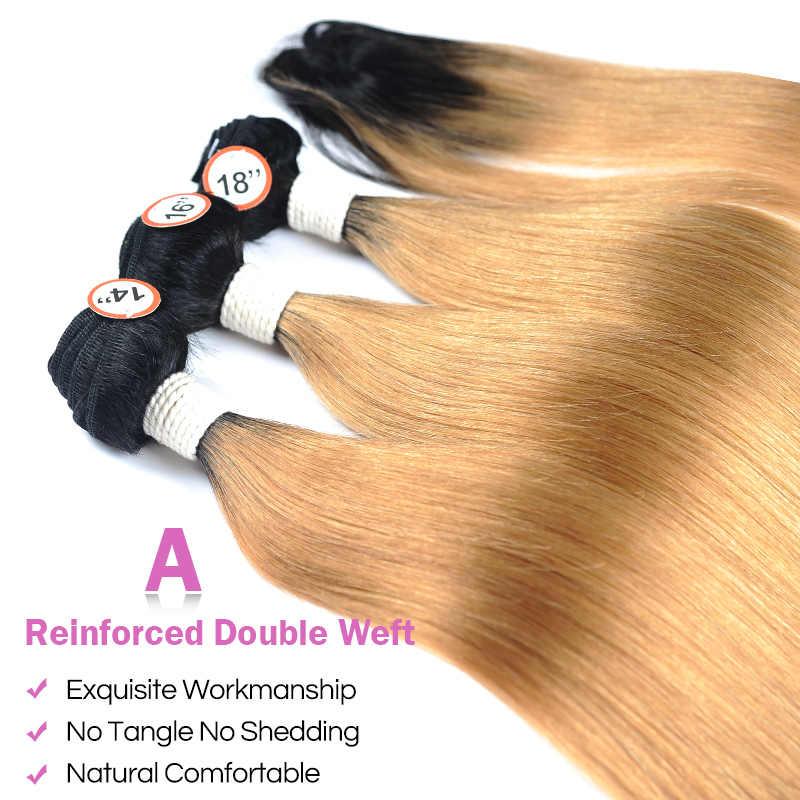 Pinshair Madu Pirang Bundel dengan Penutupan Ombre 1B 27 Brasil Rambut Lurus 3 Bundel dengan Penutupan Tebal Rambut Manusia Non remy