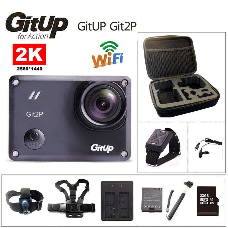 Action camera deportiva Original GitUp Git2P Novatek 96660 remote Ultra HD 2K WiFi 1080P 60fps go waterproof pro Git2 P camera free shipping gitup git2 16m ultra 2k wifi dv sports action helemet camera 18 in 1 accessories