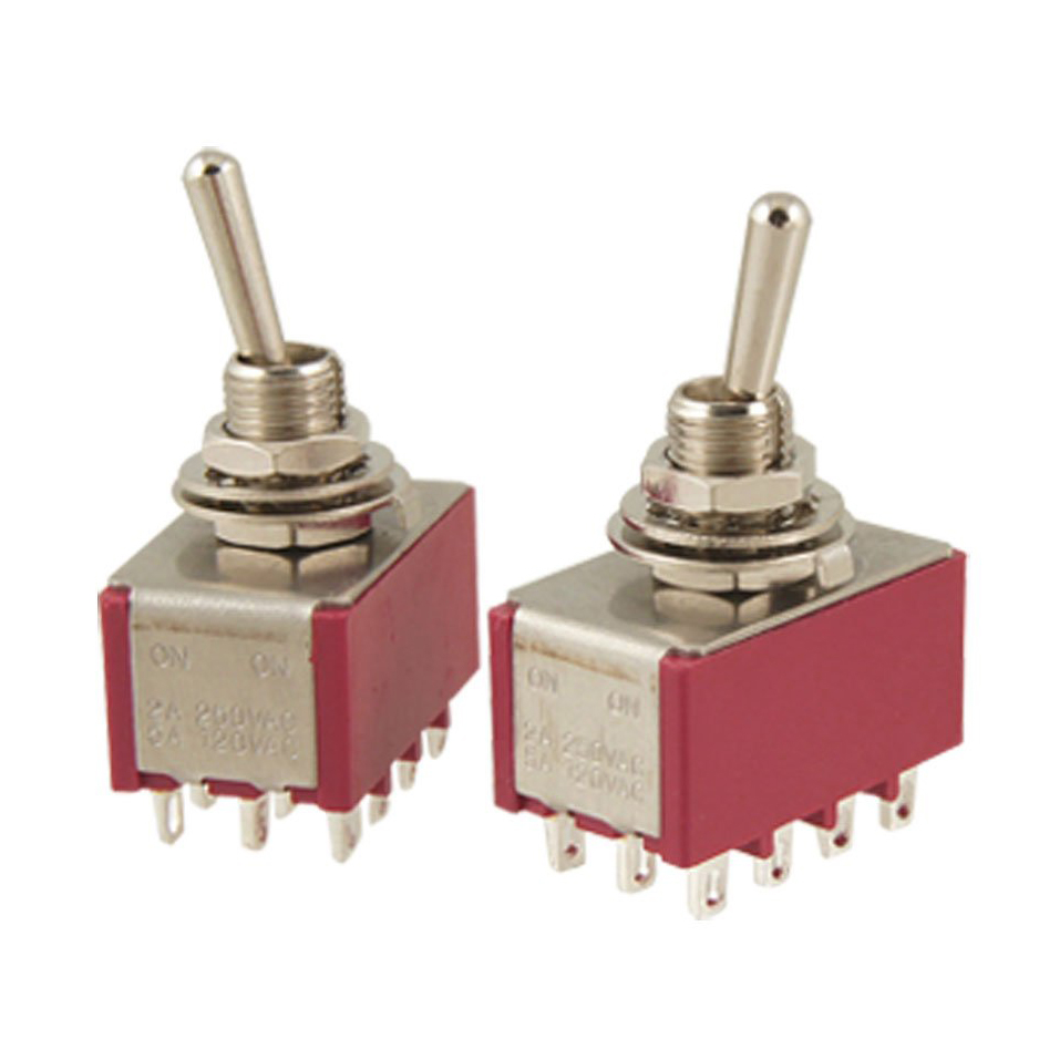 PROMOTION!2 Pcs AC 250V 2A 120V 5A 12 Pin 4PDT ON/ON Toggle Switch 5 x on off small toggle switch miniature spst 6mm ac250v 3a 120v 5a