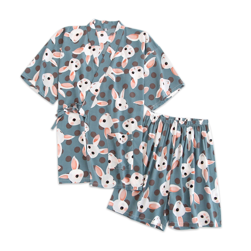 100% Rayon Summer pijama women shorts   pajamas     sets   simple cute rabbit casual fresh sleep wear japanese kimono   pajamas   for women