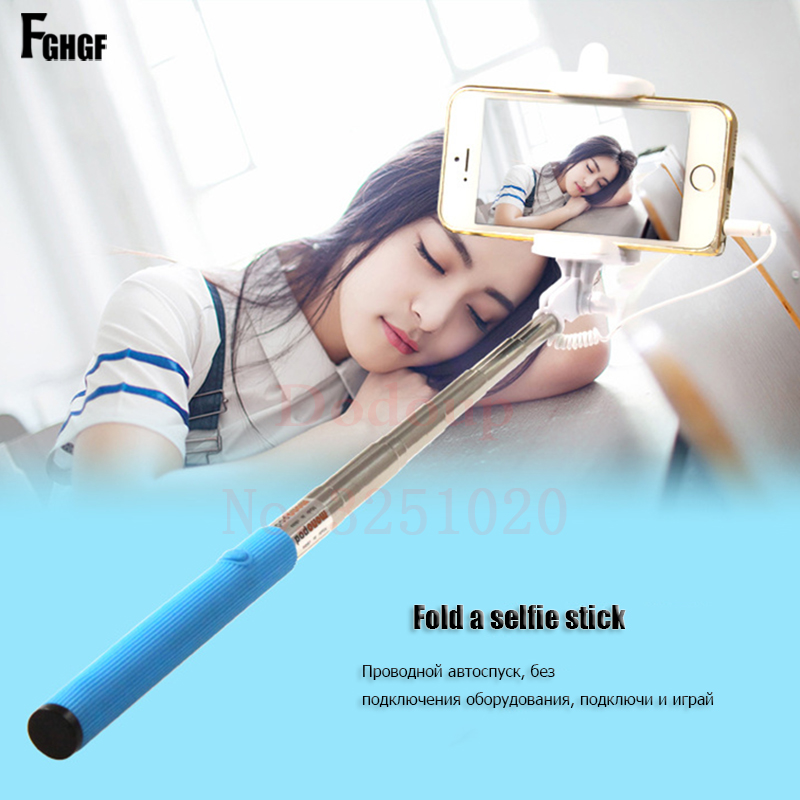 FGHGF Audio Cable Wired Selfie Stick For huawei Extendable Handheld Monopod For iPhone Universal Mini Built-in Shutter Stick