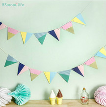 2 set Ice cream Paper Colorful Flags Hanging Festival Party Supplies Children Holiday Room Decoration Products