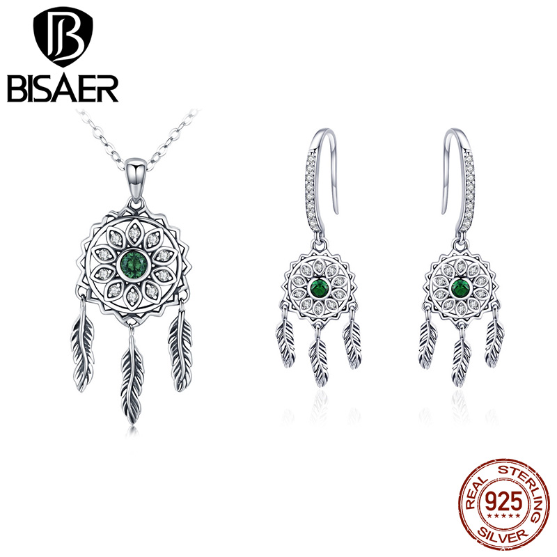 11.11 Silver Jewelry Set 925 Sterling Silver Bohemian Style Dreamcatcher Necklace and Earrings Set for Women Silver Jewelry