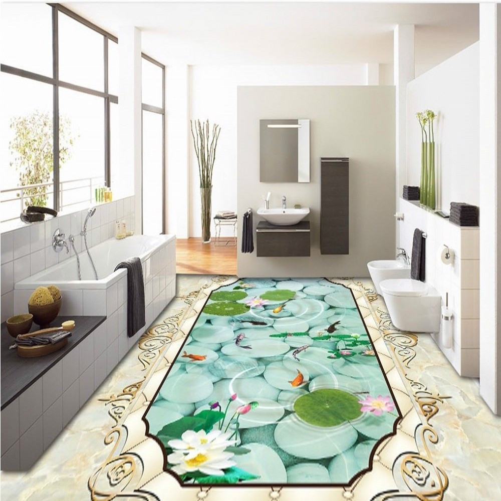 ФОТО Free Shipping Marble pattern soft package lotus nine fish 3D floor thickened bathroom living room square flooring mural
