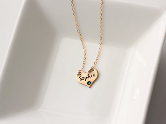 Birthstone Name Heart Necklace Personalized Gold Plated Pendant Engraved Custom Jewelry With Bag Gift For Wife Ylq0369 In Pendants From