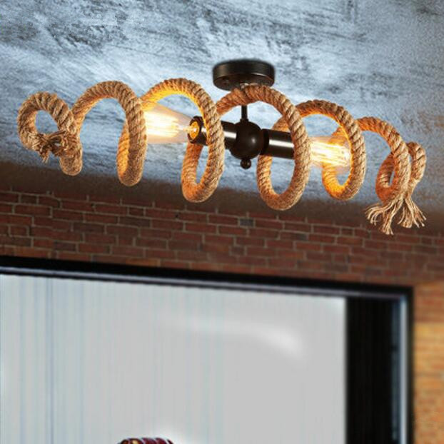Nordic Retro Industrial Wind Loft Pipe Hemp Rope LED Chandelier for Cafe Bar Personalized Clothing Shop Chandelier Lighting vintage industrial wind cafe internet cafe restaurant nordic individuality clothing shop window bar deck chandelier