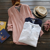 3 Colors Spring Women Solid Long Sleeved Stand Collar Button Cotton And Linen Female Vestido Shirt