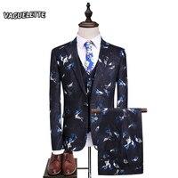 (Marynarka + Kamizelka + Spodnie) Drukowane Garnitury Mężczyzn Tam Kawałki Elegancki Kostium Homme Slim Fit Moda Stylowy Groom Garnitur ślubny M-5XL