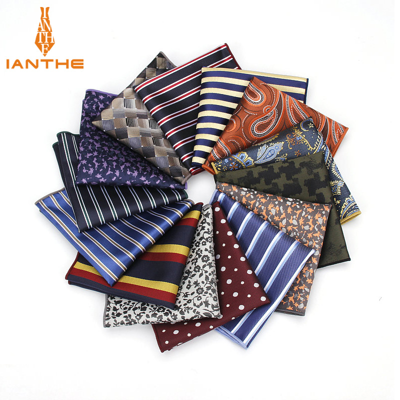 Stripe Polyester Handkerchiefs Woven Dot Navy Pattern Hanky Men's Business Casual Square Pockets Handkerchief Wedding Hankies