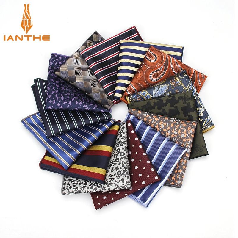 Stripe Polyester Handkerchiefs Woven Dot Navy Pattern Hanky Men's Business Casual Square Pockets Handkerchief Wedding Hankies