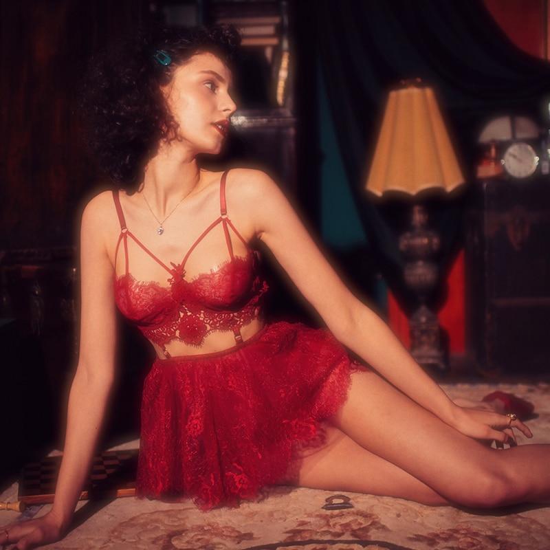 Valentine's Day Night Sexy Lingerie Nightgown Women Sleep Dress Eyelashes Lace Embroidery Underwear Womens Nightgown Sleepwear